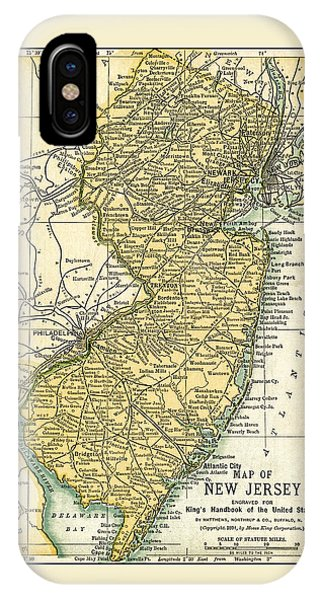 New Jersey Antique Map 1891 IPhone Case