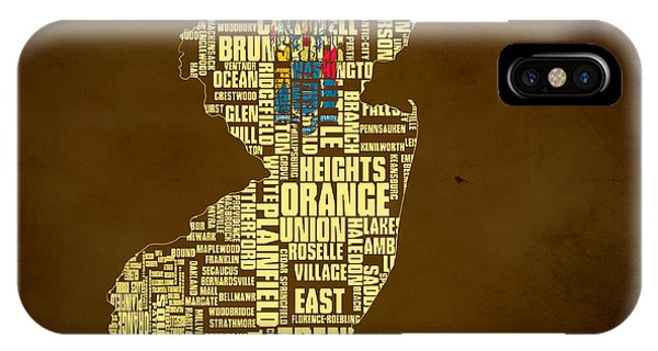 Crossroads Of The World iPhone Case - New Jersey Typographic Map 01 by Brian Reaves
