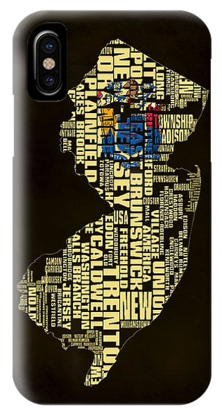Crossroads Of The World iPhone Case - New Jersey Typographic Map 02 by Brian Reaves