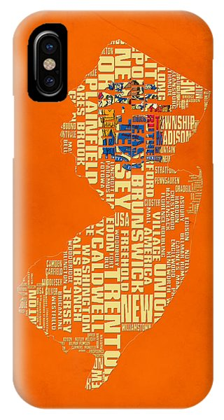 Crossroads Of The World iPhone Case - New Jersey Typographic Map 03 by Brian Reaves