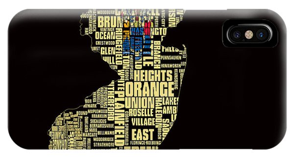 Crossroads Of The World iPhone Case - New Jersey Typographic Map 4g by Brian Reaves