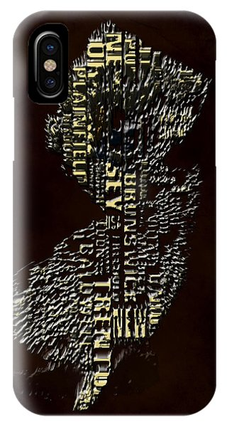Crossroads Of The World iPhone Case - New Jersey Typographic Map 4h by Brian Reaves