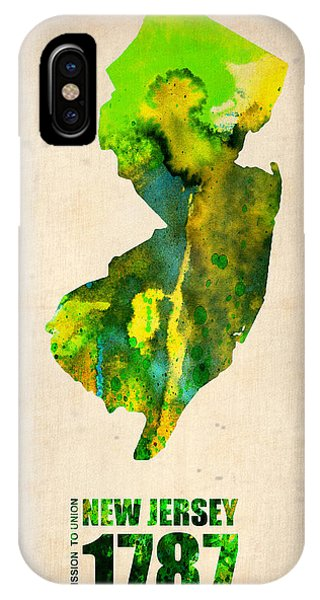 New Jersey iPhone Case - New Jersey Watercolor Map by Naxart Studio