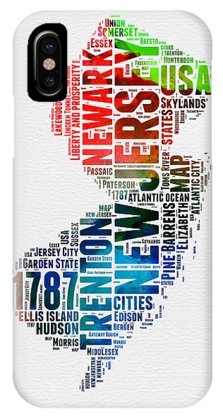 New Jersey iPhone Case - New Jersey Watercolor Word Cloud  by Naxart Studio