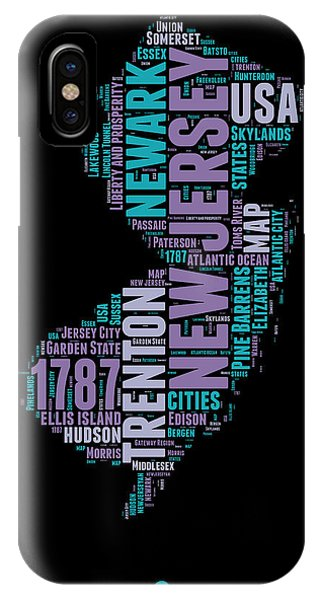 New Jersey iPhone Case - New Jersey Word Cloud 1 by Naxart Studio