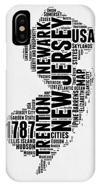 New Jersey iPhone Case - New Jersey Word Cloud 2 by Naxart Studio