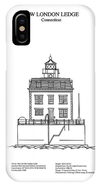 New London Ledge Lighthouse - Connecticut - Blueprint Drawing IPhone Case
