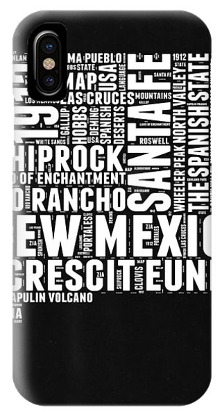 New Mexico iPhone Case - New Mexico Black And White Word Cloud Map by Naxart Studio