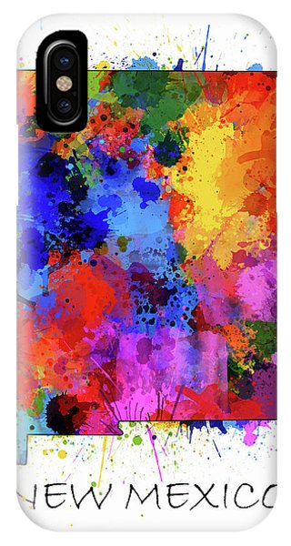 Southwest iPhone Case - New Mexico Map Color Splatter  by Bekim M