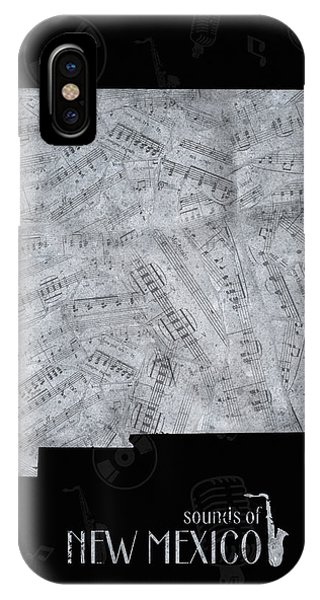 Southwest iPhone Case - New Mexico Map Music Notes 2 by Bekim M