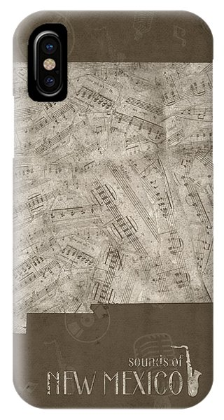 Southwest iPhone Case - New Mexico Map Music Notes 3 by Bekim M