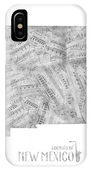 Southwest iPhone Case - New Mexico Map Music Notes by Bekim M