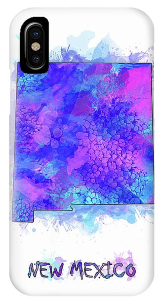 Southwest iPhone Case - New Mexico Map Watercolor 2 by Bekim M