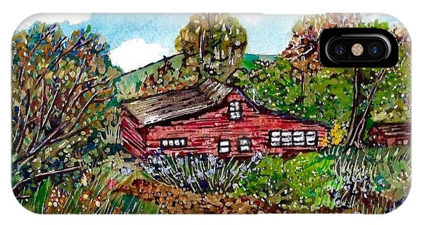Pen And Ink Of Barn iPhone Case - New Mexico Red House  by M E Wood