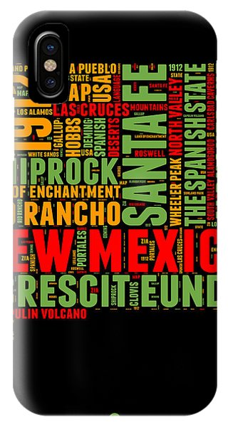 New Mexico iPhone Case - New Mexico Word Cloud Map 1 by Naxart Studio