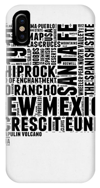 New Mexico iPhone Case - New Mexico Word Cloud Map 2 by Naxart Studio