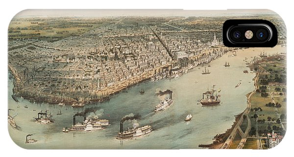 Mississippi River iPhone Case - New Orleans 1851 by Ricky Barnard