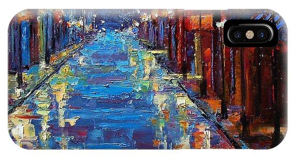 Night iPhone Case - New Orleans Bourbon Street by Debra Hurd