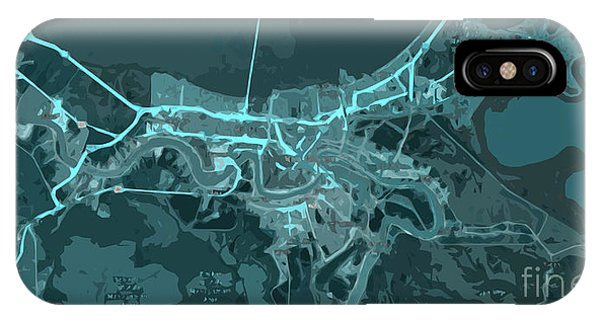 Arte iPhone Case - New Orleans Old Map Abstract Blue by Drawspots Illustrations