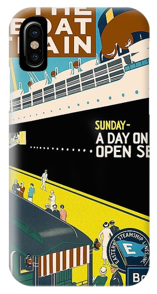 Cruise Ship iPhone Case - New The Boat Train - A Day On The Open Sea - Retro Travel Poster - Vintage Poster by Studio Grafiikka