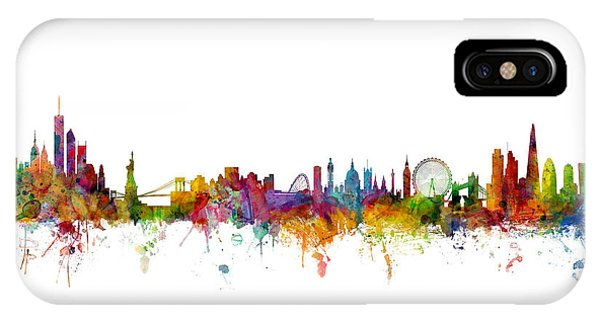 Michael iPhone Case - New York And London Skyline Mashup by Michael Tompsett