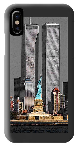 New York 911 Memory - Twin Towers And Statue Of Liberty IPhone Case