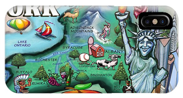 New York Cartoon Map IPhone Case