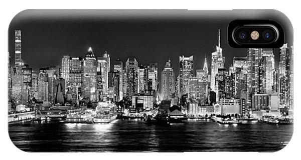 New York City Skyline iPhone Case - New York City Nyc Skyline Midtown Manhattan At Night Black And White by Jon Holiday