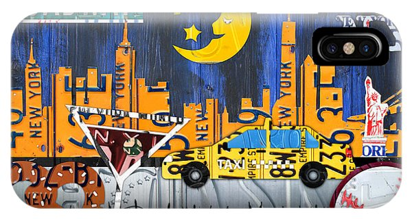 New York City Taxi iPhone Case - New York City Nyc The Big Apple License Plate Art Collage No 1 by Design Turnpike