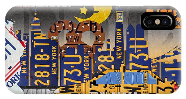 Moon iPhone Case - New York City Nyc The Big Apple License Plate Art Collage No 2 by Design Turnpike