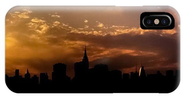 City Sunset iPhone Case - New York City Skyline At Sunset Panorama by Vivienne Gucwa