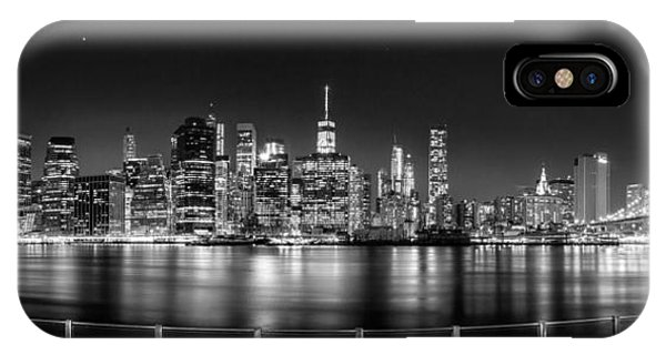 New York City Skyline Panorama At Night Bw IPhone Case