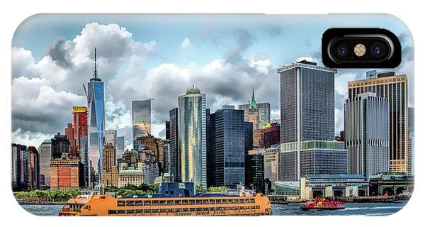 Manhattan Skyline iPhone Case - New York City Staten Island Ferry by Christopher Arndt