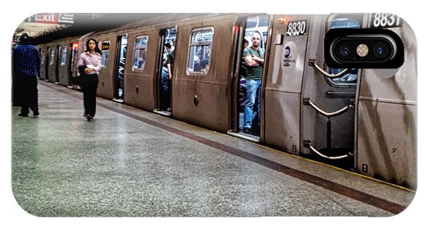 IPhone Case featuring the photograph New York City Subway Stare by Lars Lentz