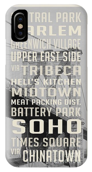 Harlem iPhone Case - New York City Subway Stops Vintage Brooklyn Bridge by Edward Fielding