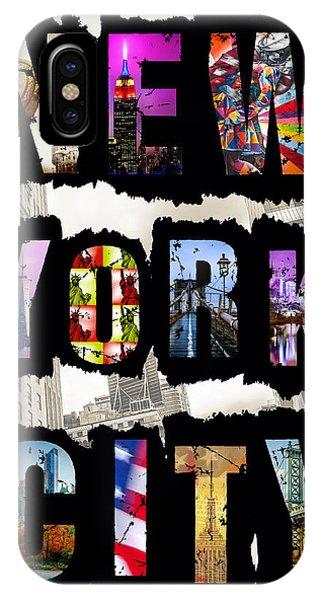 Central America iPhone Case - New York City Text by Az Jackson