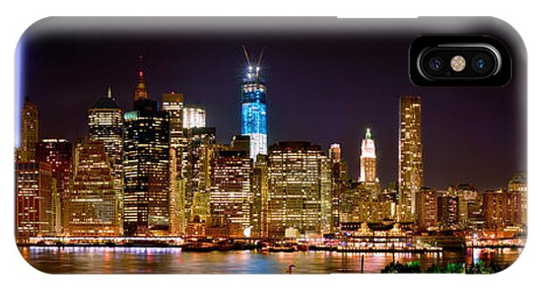 Downtown iPhone Case - New York City Tribute In Lights And Lower Manhattan At Night Nyc by Jon Holiday