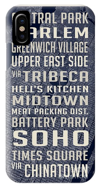Harlem iPhone Case - New York City Vintage Subway Stops With Map by Edward Fielding
