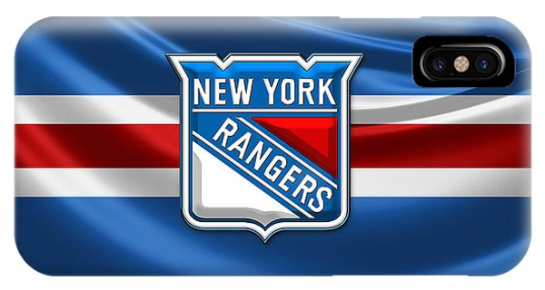 Patriotic iPhone Case - New York Rangers - 3d Badge Over Flag by Serge Averbukh