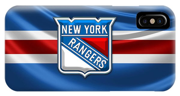 Sports iPhone Case - New York Rangers - 3d Badge Over Flag by Serge Averbukh