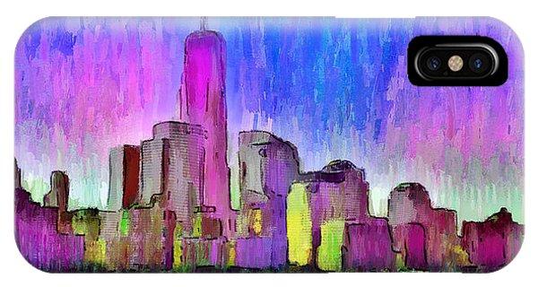 Capitalism iPhone Case - New York Skyline 4 - Da by Leonardo Digenio