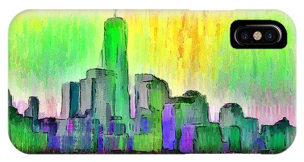 Capitalism iPhone Case - New York Skyline 5 - Da by Leonardo Digenio