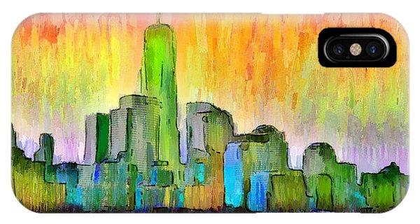 Capitalism iPhone Case - New York Skyline 6 - Da by Leonardo Digenio