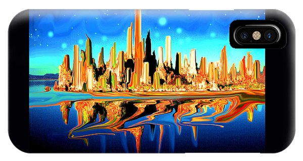 New York Skyline Blue Orange - Modern Art IPhone Case