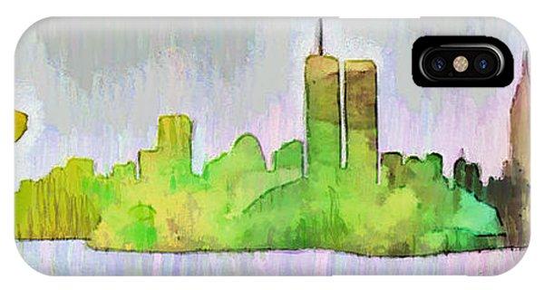 Capitalism iPhone Case - New York Skyline Old Shapes 2 - Da by Leonardo Digenio