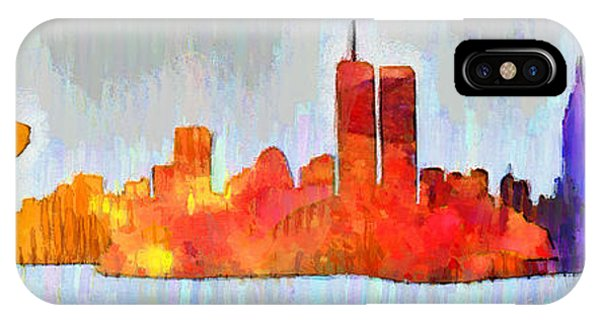 Capitalism iPhone Case - New York Skyline Old Shapes 3 - Da by Leonardo Digenio