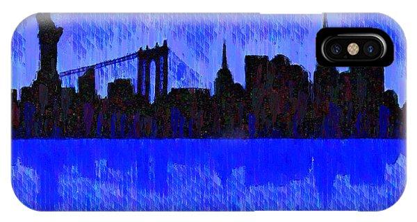Capitalism iPhone Case - New York Skyline Silhouette Blue - Da by Leonardo Digenio