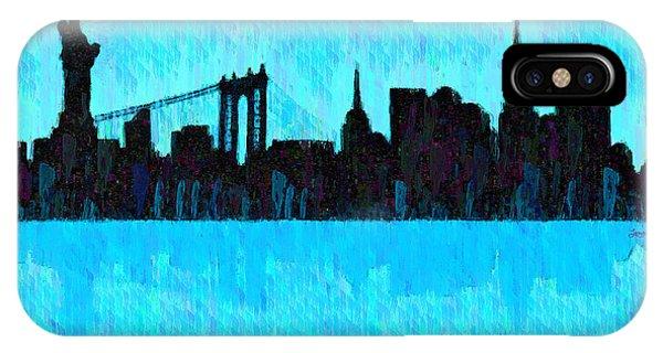 Capitalism iPhone Case - New York Skyline Silhouette Cyan - Da by Leonardo Digenio