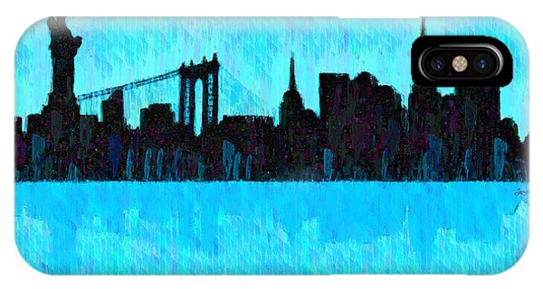 New York Skyline Silhouette Cyan - Da IPhone Case