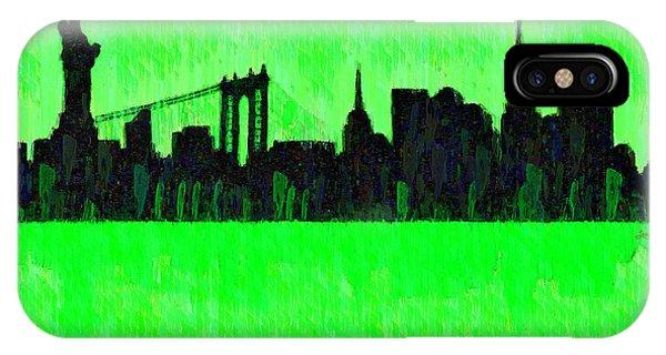 Capitalism iPhone Case - New York Skyline Silhouette Green - Da by Leonardo Digenio
